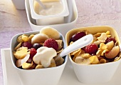 Cornflakes with fruit and soya yoghurt