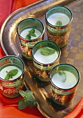 Five glass of mint lassi (yoghurt drink with mint, India)