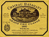 Weinetiektt des Château Batailley 1990, Pauillac, Bordeaux