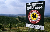Gallo Nero, the logo of Chianti Classico, Italy