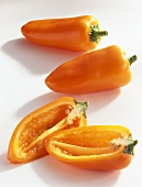 Baby pointed peppers (Capsicum annuum), orange