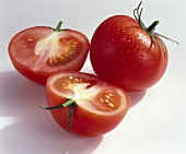 Tomatoes, variety 'Aromata', whole and halved
