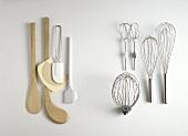 Various kitchen utensils for mixing