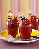 Red fruit compote in three glasses