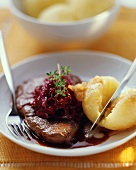 Braised pickled beef with red cabbage