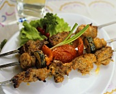 Three shashlik kebabs (Ukraine)
