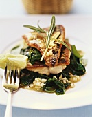 Mackerel fillets with spinach