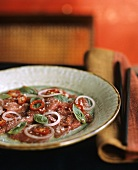 Raw beef with basil, lime and chilli (Vietnam)