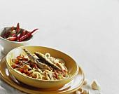 Pasta e sarde al rosso di peperoncino (spicy pasta dish)