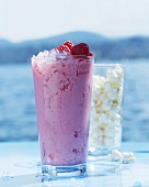 A raspberry and coconut smoothie