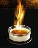 Flambéed crema catalana