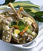 Boiled goose with vegetables and pearl barley