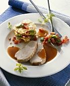Turkey sauerbraten (turkey cooked in sweet-sour marinade)