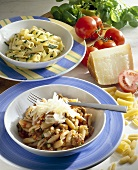 Gnocchetti with sausage ragout, rigatoni with courgettes