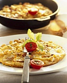 Klossschlupfer (omelette with potato dumplings and bacon)