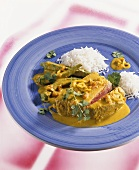 Fish curry with okra and rice