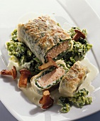 Wild salmon in rice paper on creamed savoy