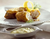 Fried haddock with remoulade sauce