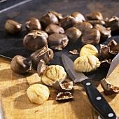 Sweet chestnuts (Castanea sativa), roasted