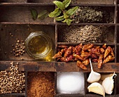 Ingredients for harissa (Arabic spice mixture)