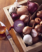 Various types of onions in wooden box