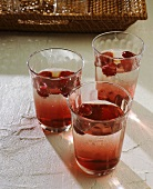 Three glasses of cranberry punch