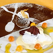 Chocolate & cashew nut dessert with pear & Cape gooseberries