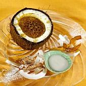 Crème brûlée in a coconut
