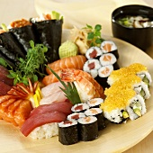 A selection of sushi on a plate