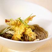 Tempura on soba noodles (Japan)