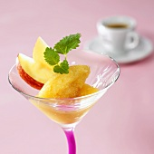 Apple sorbet in glass