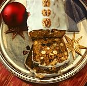 Honey and nut cake, partly sliced