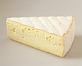 A piece of soft cheese with orange rind