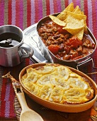 Chili con carne (Mexico), mince bake with bananas (S. Africa)