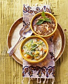 Lentil soup with noodles & vegetable soup with Patna rice (Turkey)