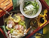 Radish, cucumber & kohlrabi salad & cucumber salad with yoghurt