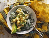 Indian cauliflower and spinach salad with yoghurt