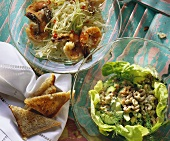 Pointed cabbage salad with jumbo prawns & shrimp salad