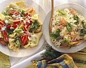 Tortellini salad and spaghetti and ham salad