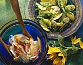 Potato & mushroom salad and potato salad with Schillerlocke