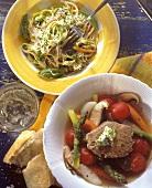 Pasta & vegetables, herb sauce & spring vegetables & steak