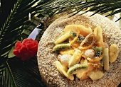 Coconut savarin with exotic fruit