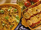 Chick pea & vegetable casserole and potato & cabbage gratin
