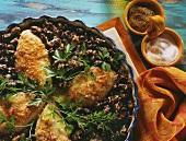 Chicken breast on kidney beans