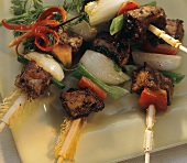 Skewered Beef with Peppers and Onions