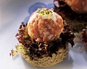 Minced pork balls on Isar Valley (Isartaler) slices