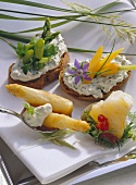 Baked asparagus, diced cod, spring bread with vegetables