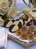 Egg yolk macaroons, walnut sweets & chocolate biscuits