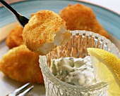 Fish fingers with herb sauce