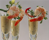 Shrimp with Avocado Puree in a Glass